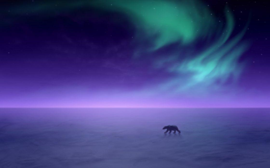 aurora borealis Alaska snow landscapes polar bears wallpaper