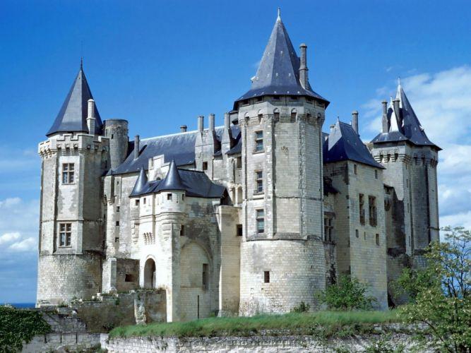 castles France buildings saumur cities Chateau wallpaper