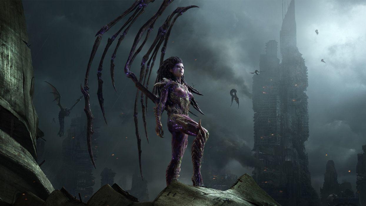 StarCraft Queen of Blades dark demons fantasy dragons post apocalyptic buildings cities women females girls sci-fi wallpaper