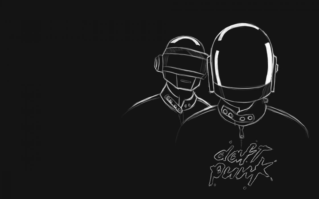 music Daft Punk monochrome wallpaper