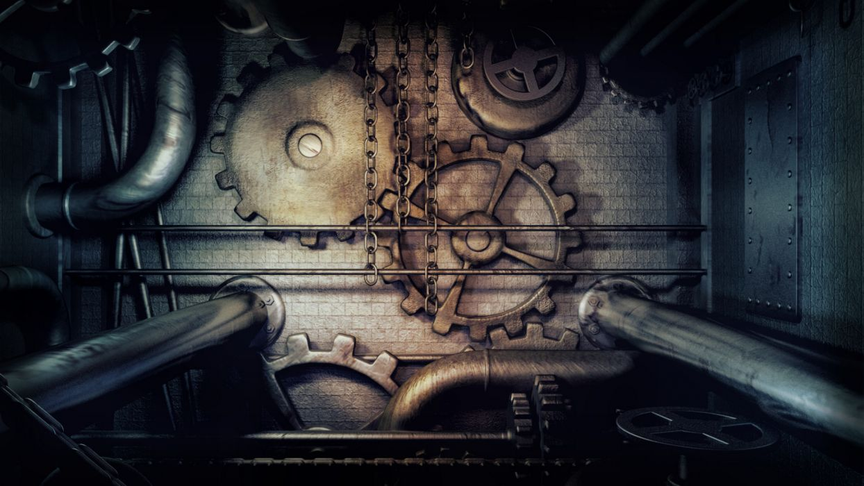 Steampunk Gears Pipes Chains dark machine wallpaper