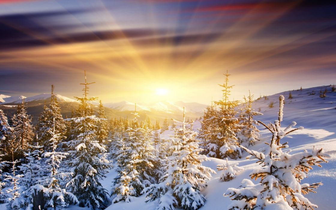 Sun Snow Mountains Sunrise Winter Rays Sky Clouds