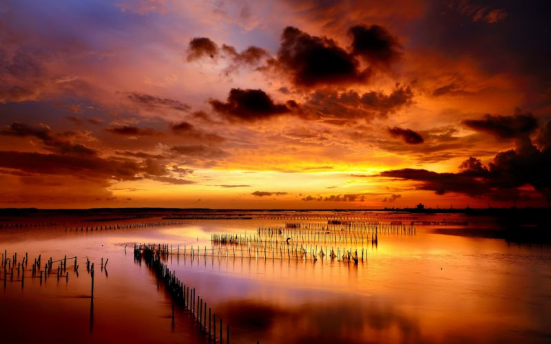 sunset sea columns rows clouds ocean lakes reflection sky clouds color sunrise wallpaper