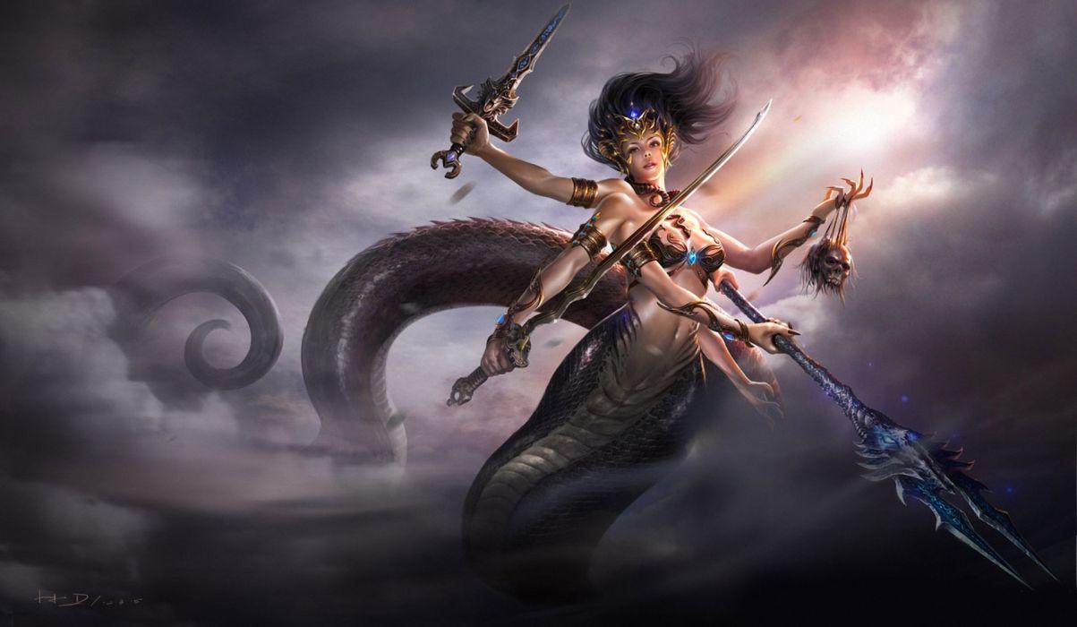 Supernatural beings Warriors Swords Spear Tail Fantasy Girls weapons skulls dark weapons wallpaper