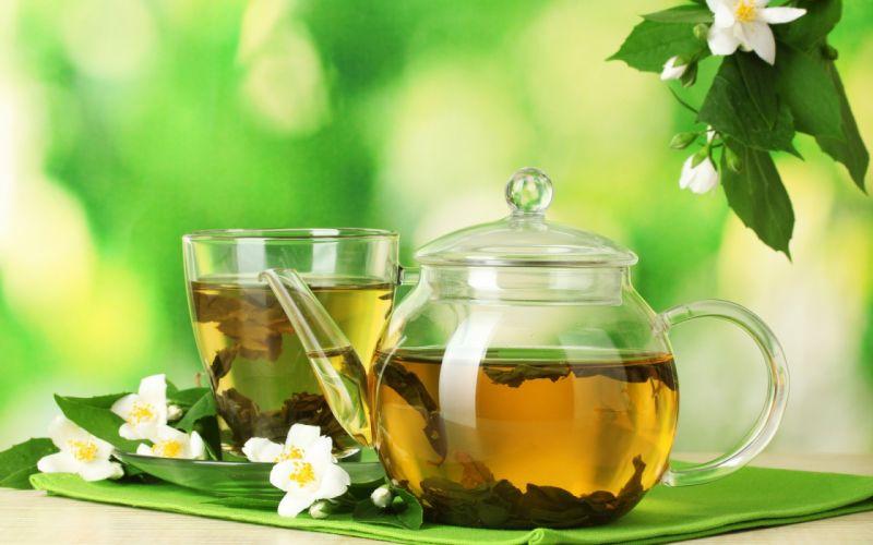 teapot saucer cup tea drink flowers leaves blossoms still life wallpaper