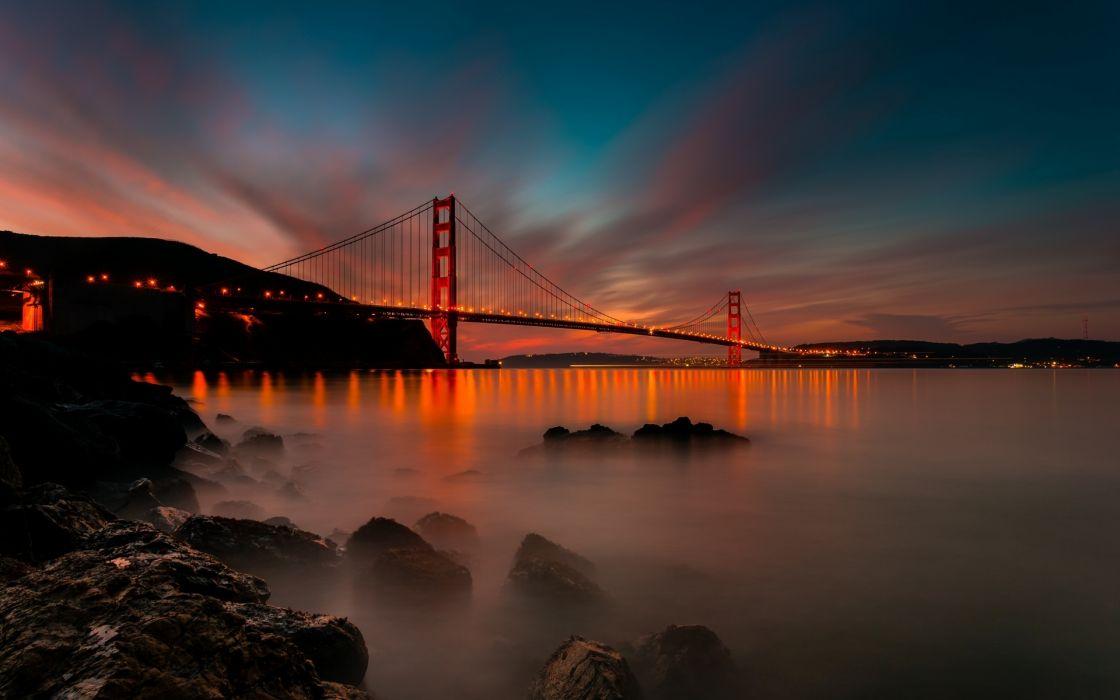 San Francisco California USA Golden Gate Bridge ocean sea reflection sky clouds lights hdr wallpaper