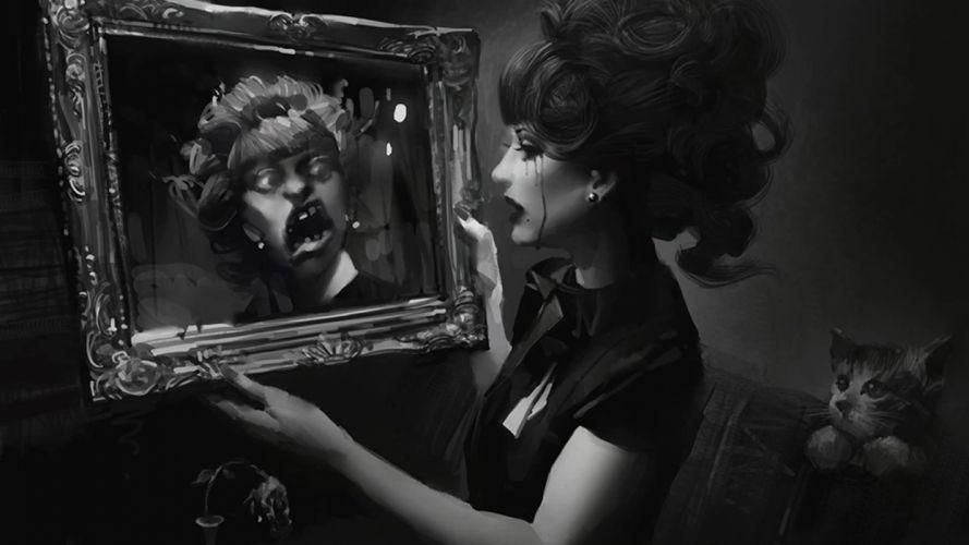 scary reflection mirror dark horror women females girls blood cats black white mood wallpaper