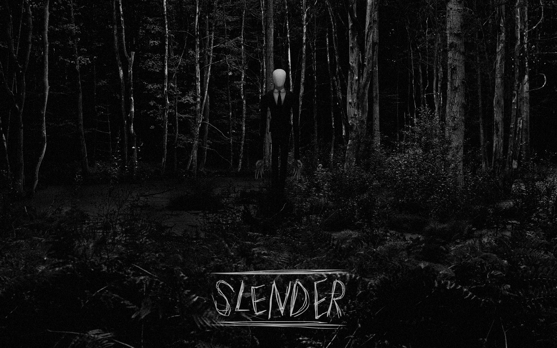 Slender Man BW Forest Creepy trees black white dark ... Creepy Pictures