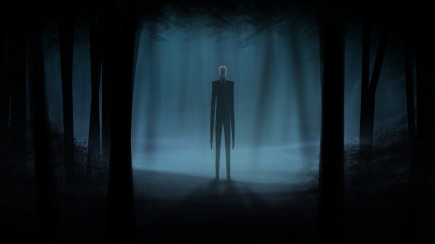 Slender Man Creepy Dark videogames dark horror trees forest wallpaper