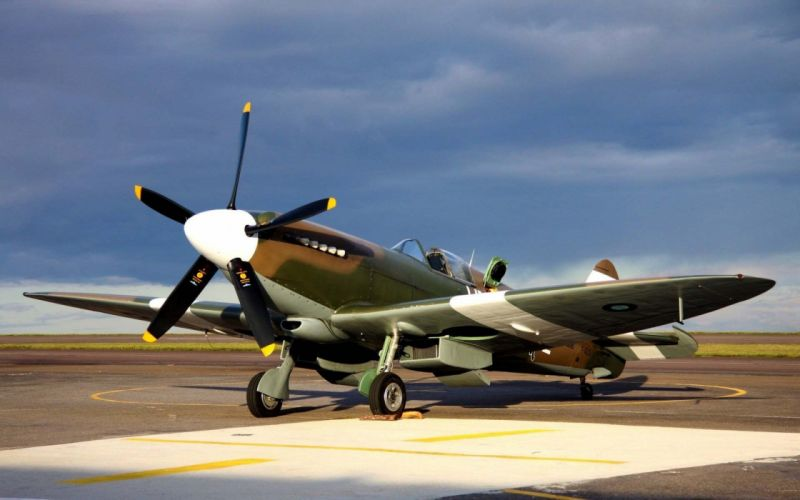 Spitfire british military airplane planes weapons sky clouds wallpaper