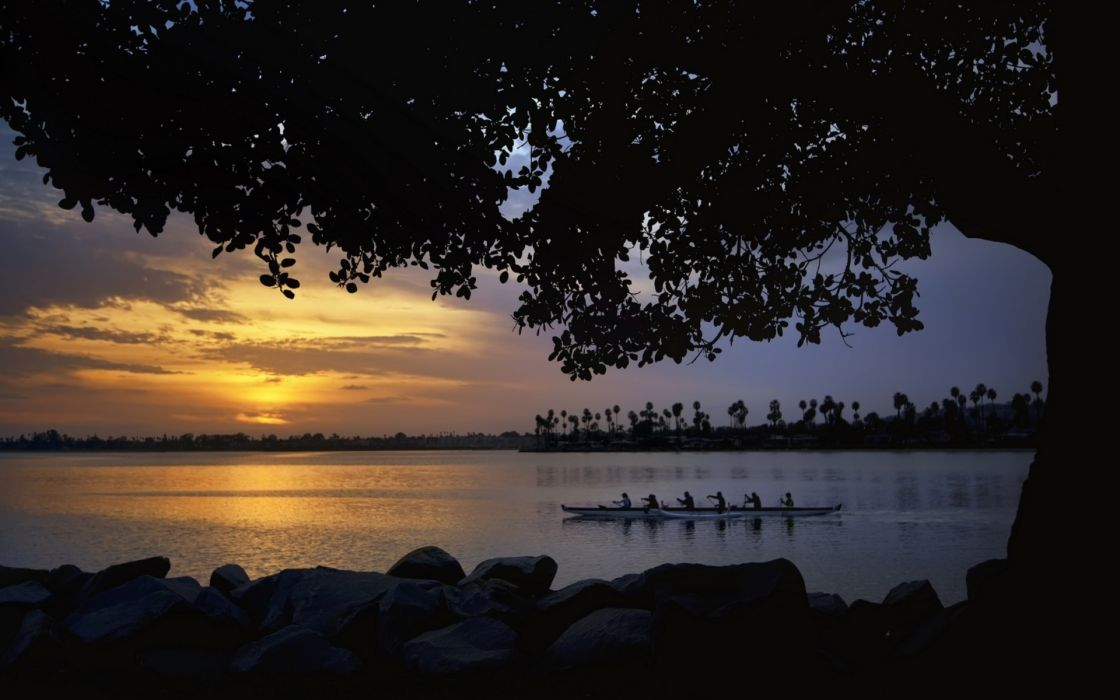 sports boats rowing lakes shore sky clouds sunset trees water wallpaper