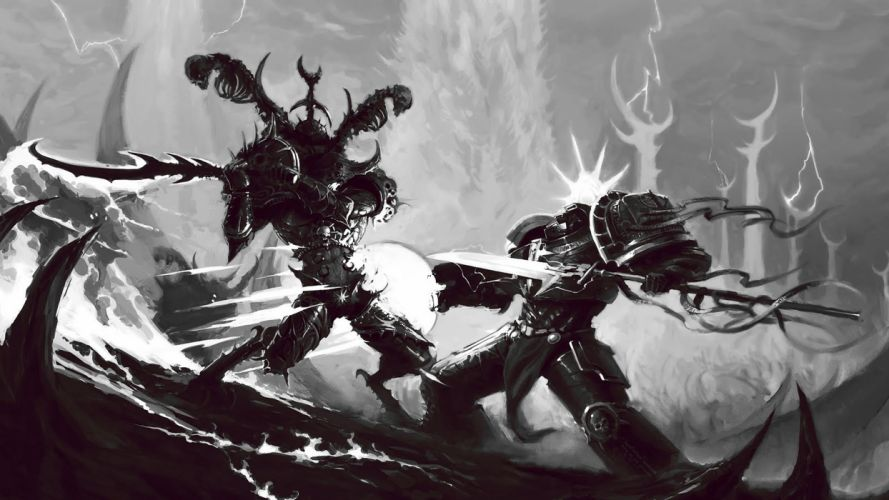 warhammer 40k fight terminator magic battle warrior black white monochrome weapons fantasy sci-fi wallpaper