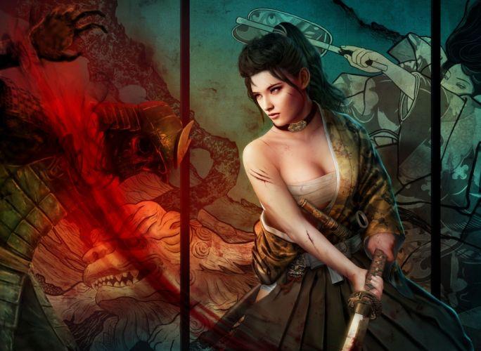 Warriors Fantasy Girls weapons sword katana cleavge women females brunettes wallpaper