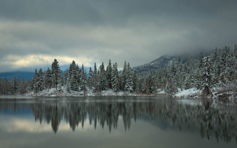 water lakes reflection trees shore forest winter snow sky clouds fog wallpaper