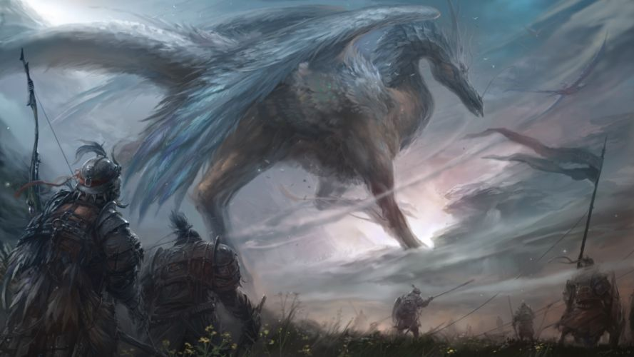 wings Dragons Warriors Fantasy weapons wallpaper