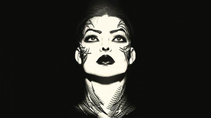 Witchblade #150 comics women females girls face eyes dark black white lips brunettes art wallpaper