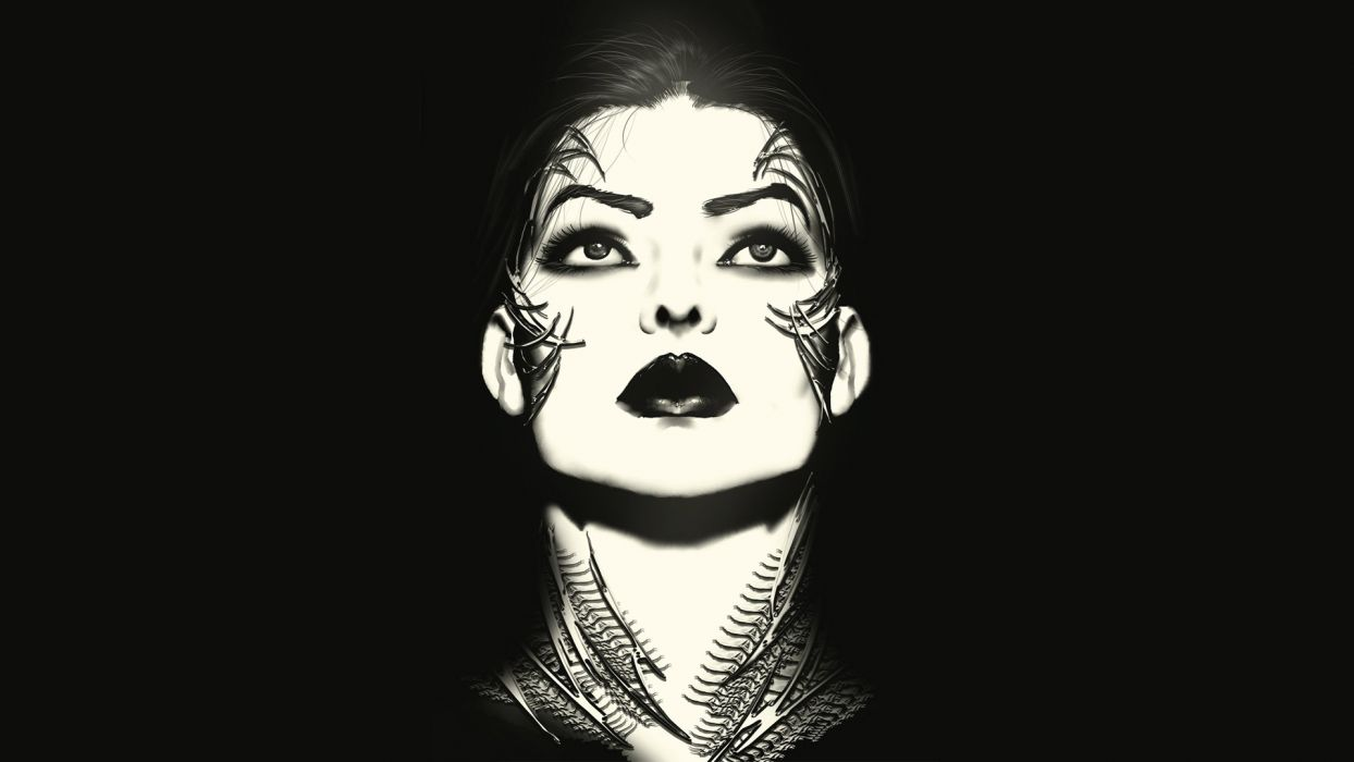 Witchblade 150 Comics Women Females Girls Face Eyes Dark Black White Lips Brunettes Art Wallpaper 1920x1080 56202 Wallpaperup