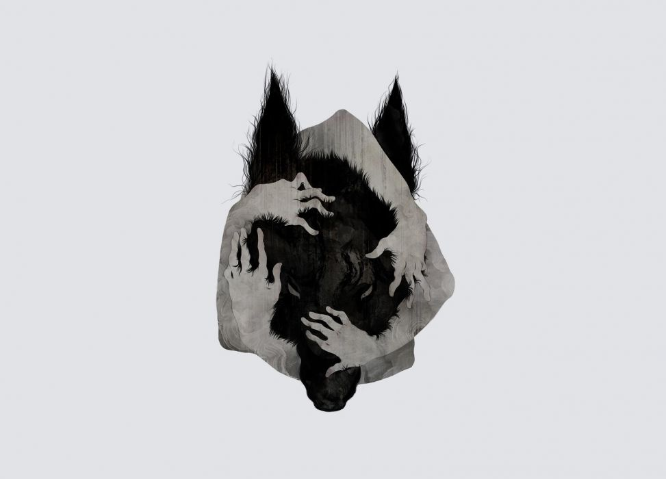 Wolf Arms Abstract Creepy Gray Grey dark horror werewolf wallpaper