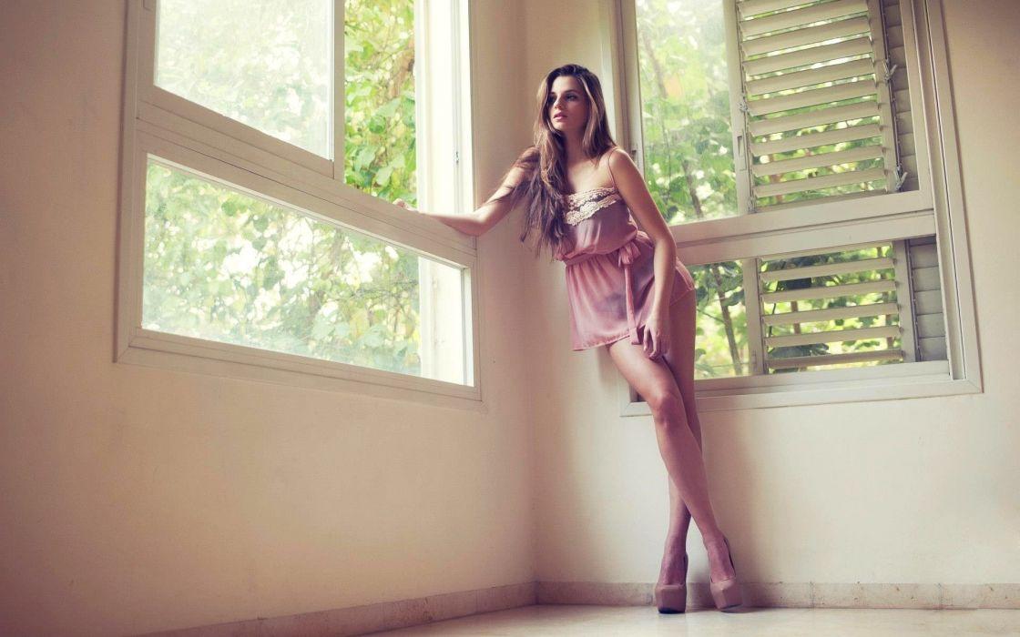 women models Zoe Greenberg females firls sexy babes brunettes window legs mood wallpaper