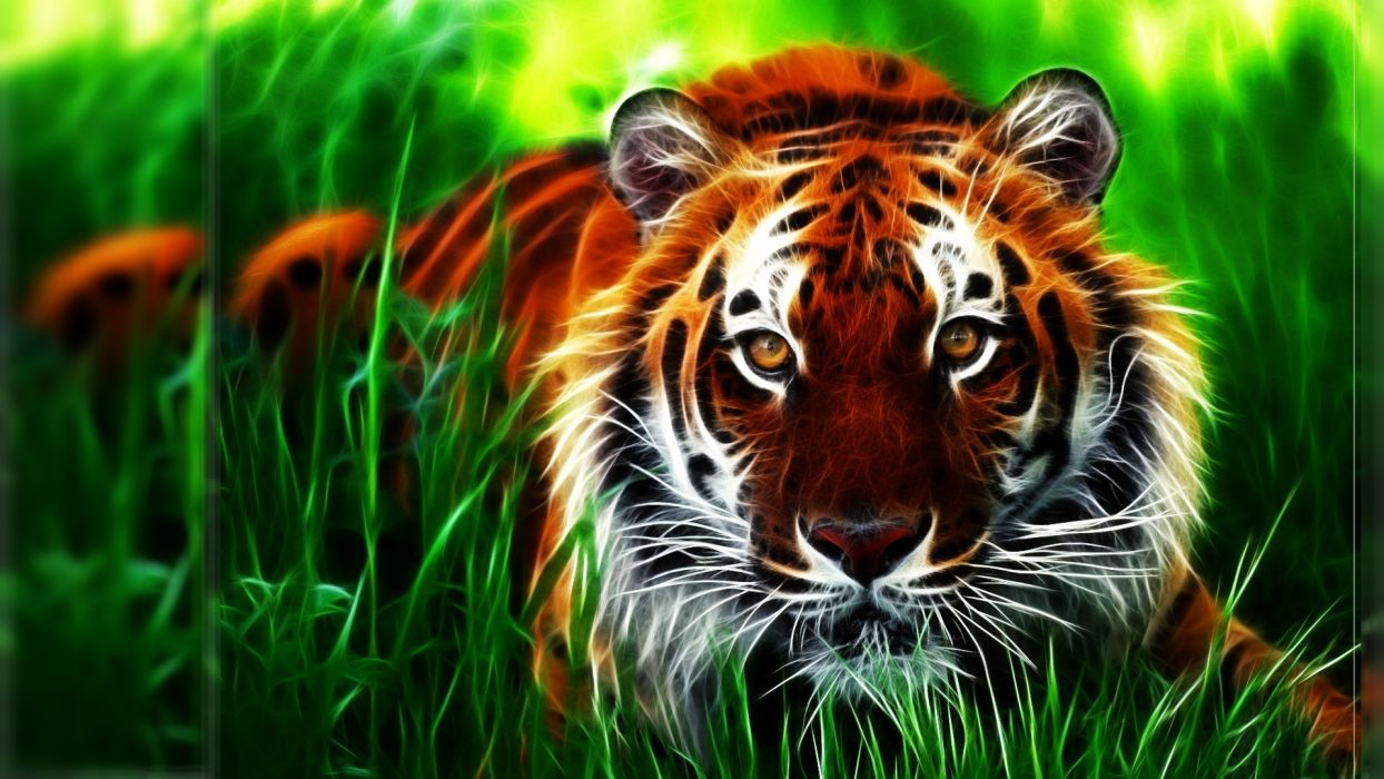 Tiger fractal face eyes pattern stripes grass art wallpaper
