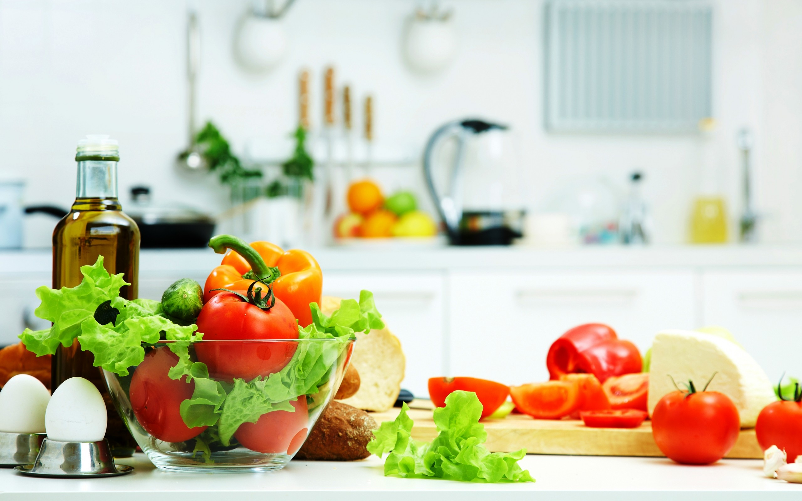 tomatoes before cucumbers vegetables oil leaves cheese bread eggs food kitchen wallpaper 2560x1600 56229 wallpaperup - Food Kitchen