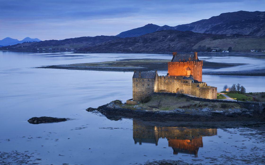 United Kingdom Scotland Night Castle Fortress Illumination