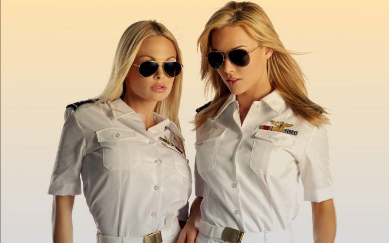 blondes women uniforms pornstars Kayden Kross sunglasses Jesse Jane DigitalPlayground Magazine wallpaper