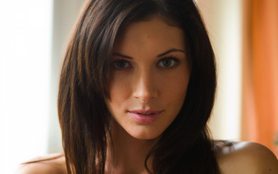 brunettes women close-up models faces Klaudia Orsi Kocsis wallpaper
