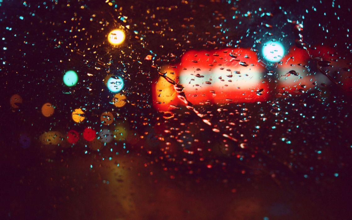 Lights Rain Cars Glass Water Droplets Macro Rain On Glass Wallpaper
