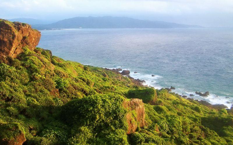 landscapes coast hills rocks stones cliffs Taiwan sea wallpaper