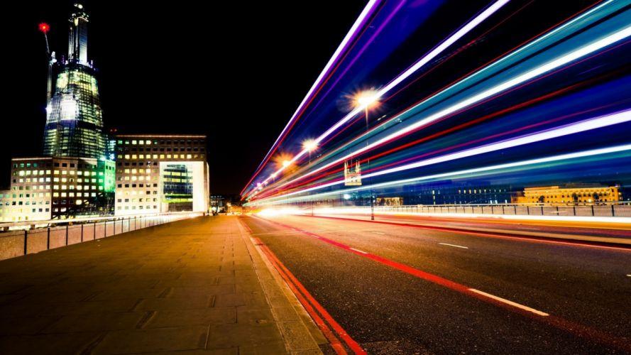 lights buildings roads nights wallpaper