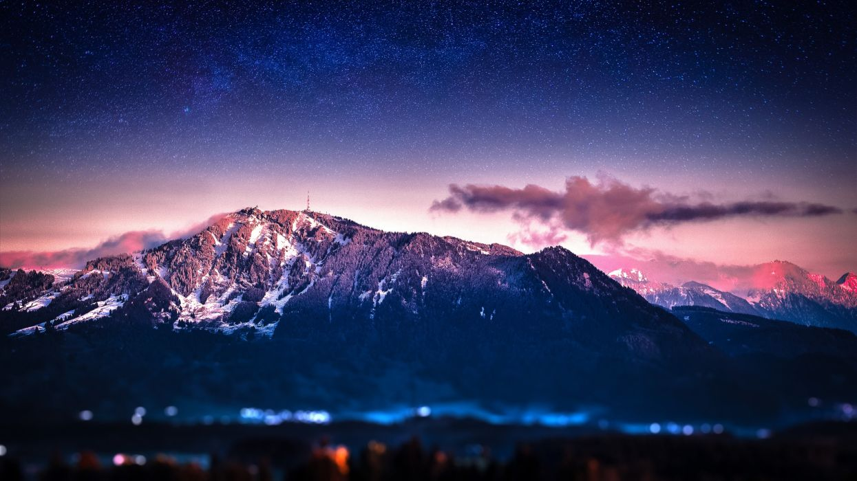 mountains stars blur bokeh Milky Way waiting skies wallpaper