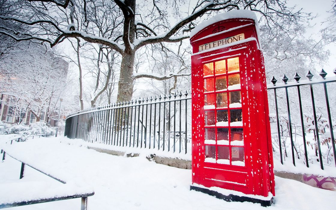 snow cityscapes red England phone booth English Telephone Booth wallpaper