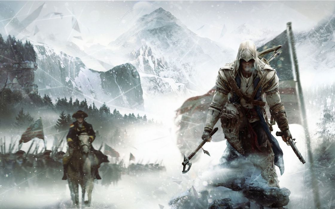 video games mountains snow Assassins Creed trees forest USA axes Civil War Assassins Creed Revelations wallpaper