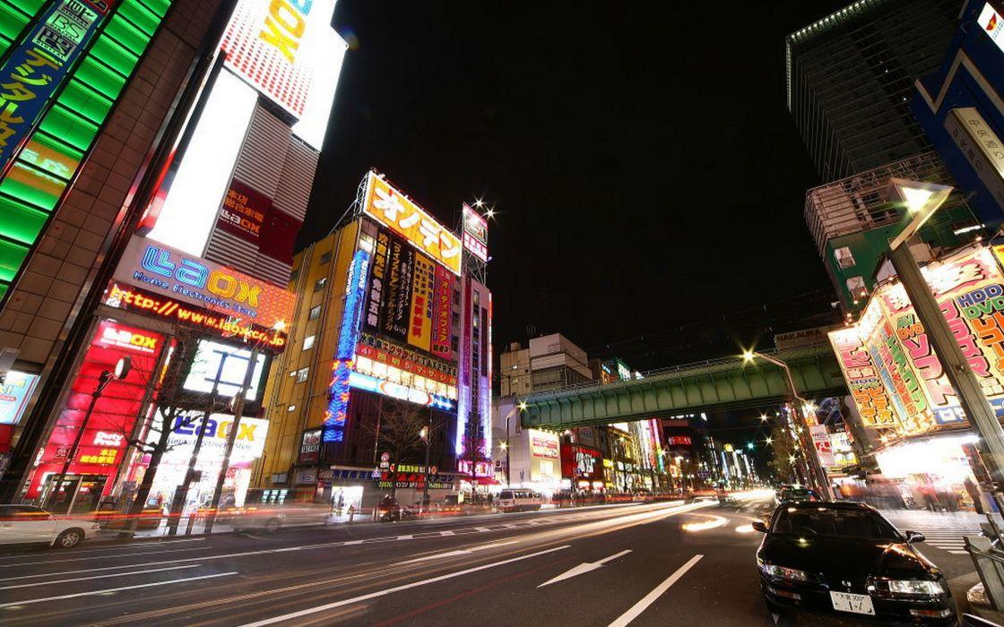 Japan night cities Akihabara wallpaper