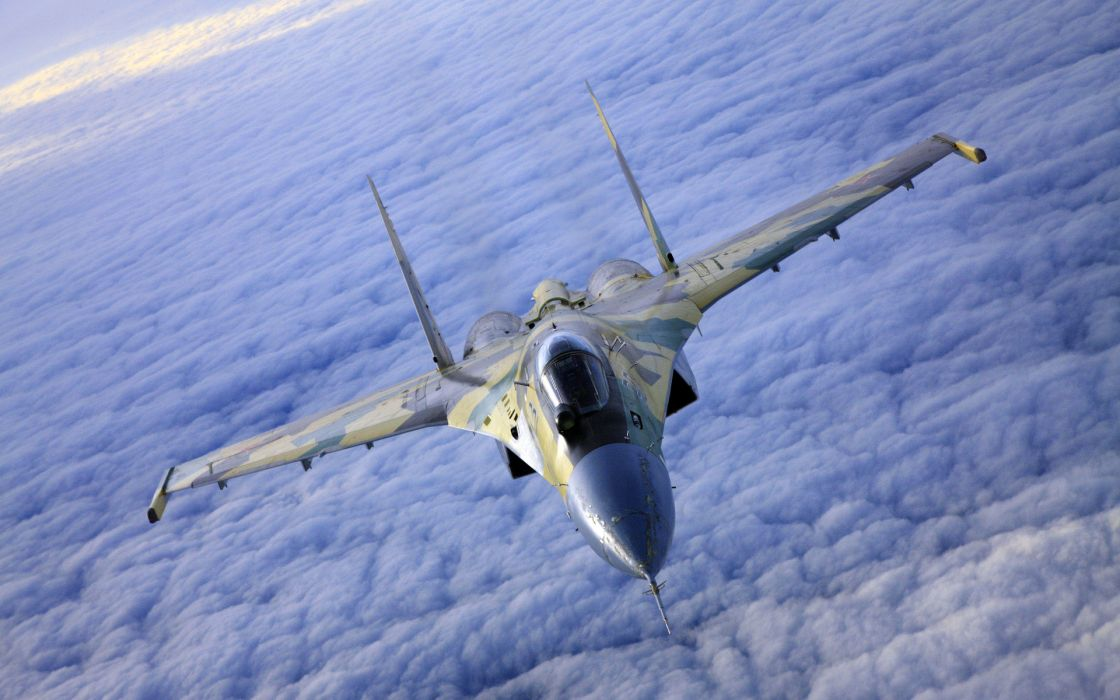 aircraft vehicles Sukhoi jet aircraft Su-27 Flanker skyscapes fighters wallpaper