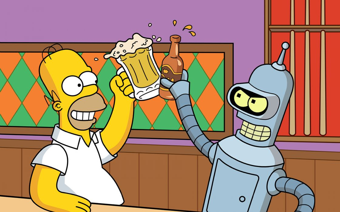 beers Futurama Bender Homer Simpson The Simpsons crossovers wallpaper