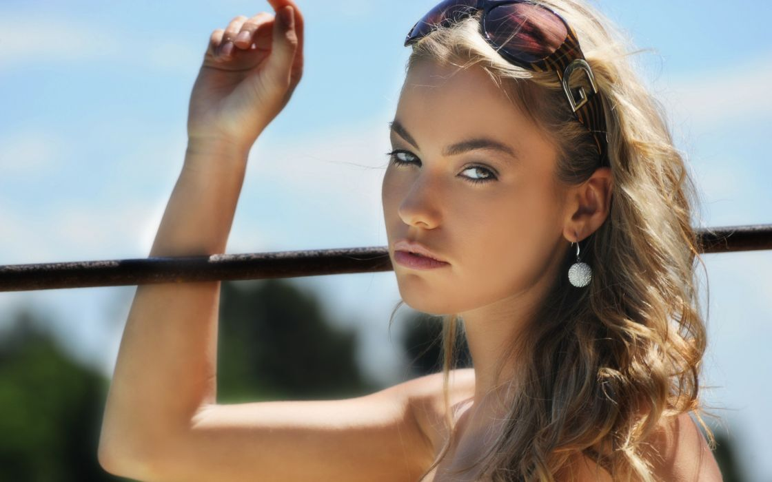 women Czech models Veronika Fasterova sunglasses wallpaper