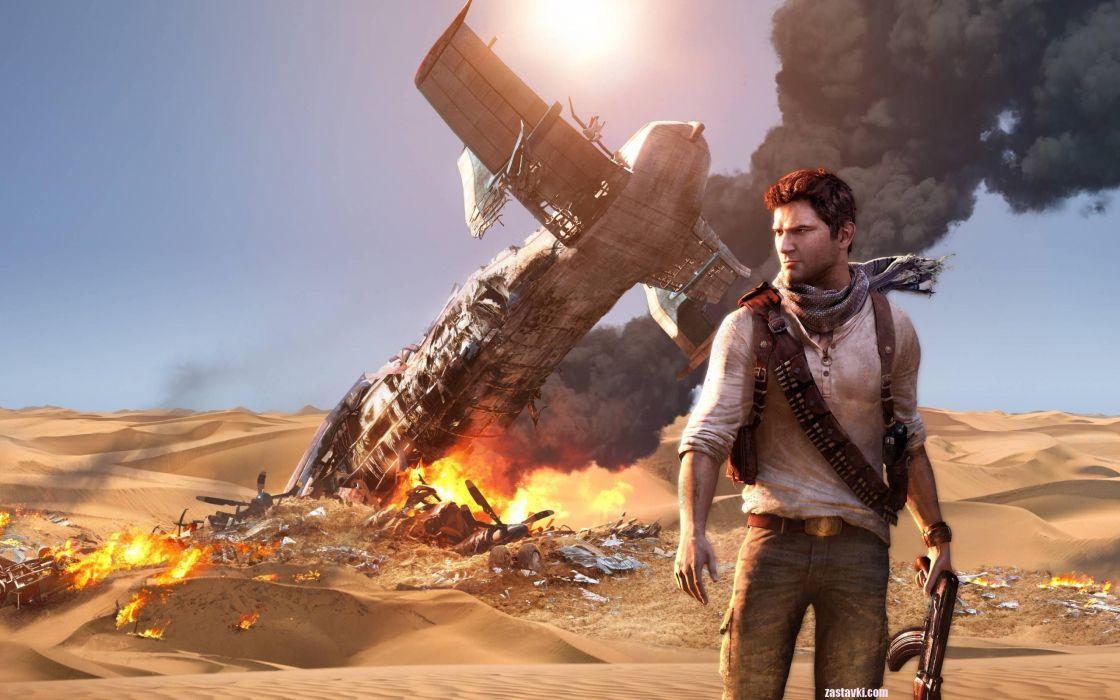 video games Uncharted Nathan Drake Uncharted 3 games plane crash wallpaper