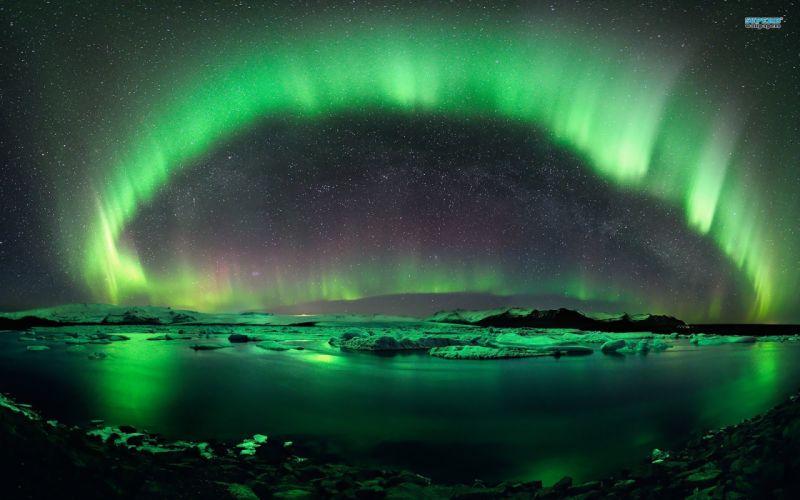 nature aurora borealis lakes skies wallpaper