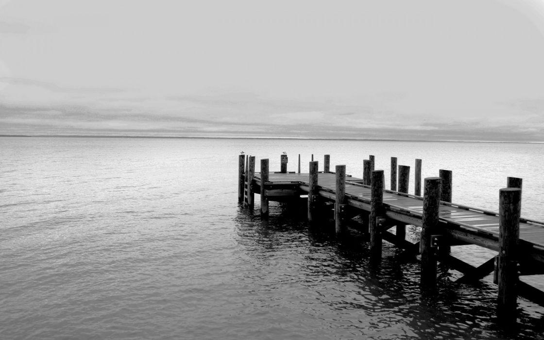 black and white pier lakes wallpaper
