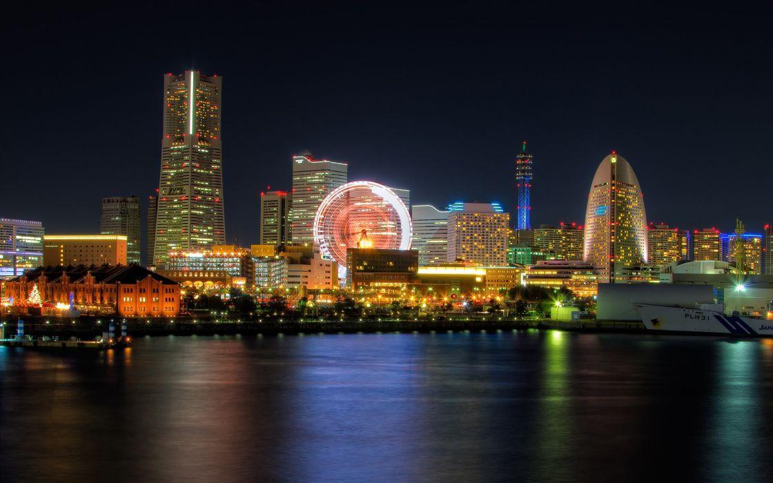 Japan Tokyo cityscapes Yokohama Minato Mirai 21 wallpaper