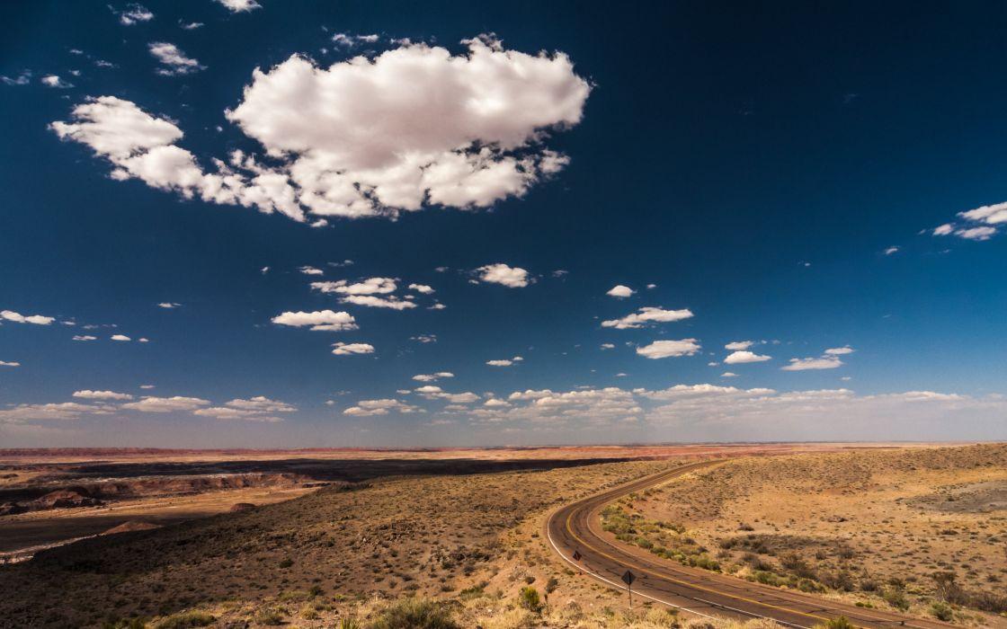 Landscapes Desert Road Gnome GNU Linux Wallpaper