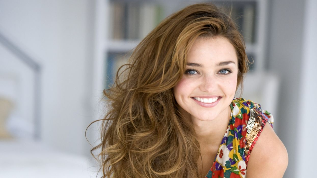 brunettes women Miranda Kerr models dimples wallpaper