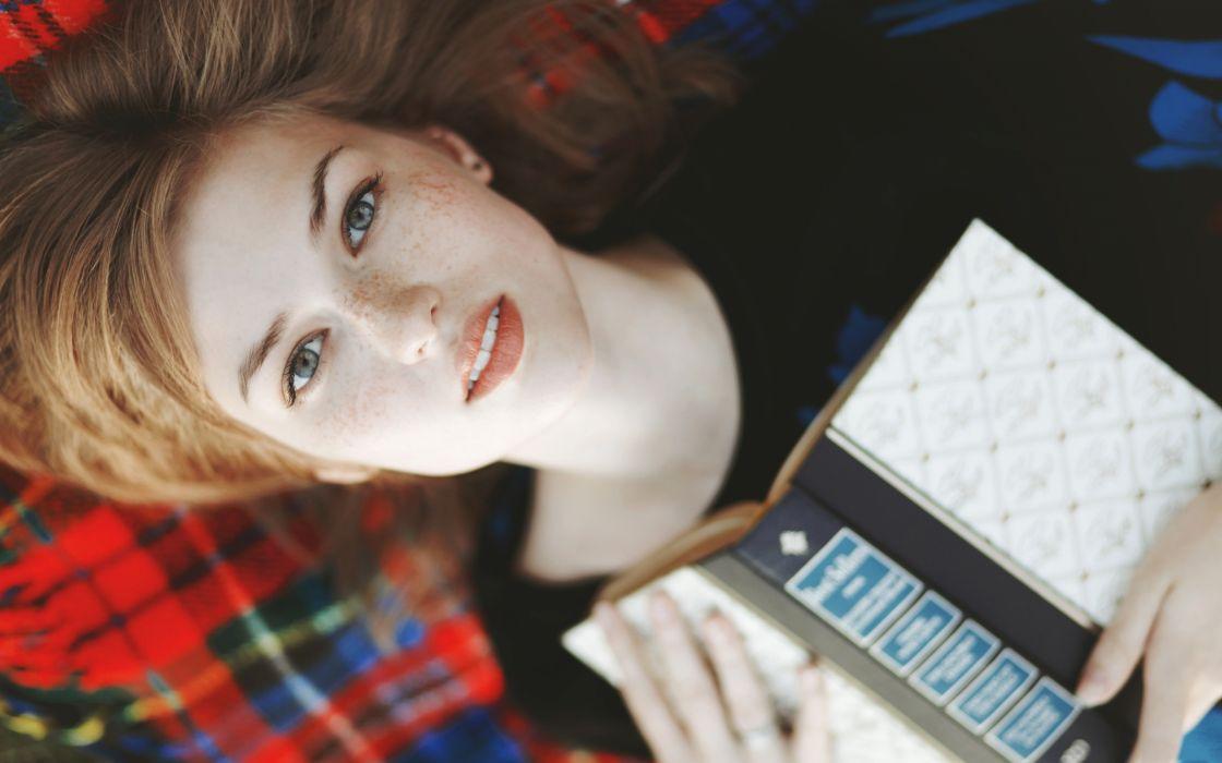 women models freckles books faces strawberry blonde hair pale skin wallpaper