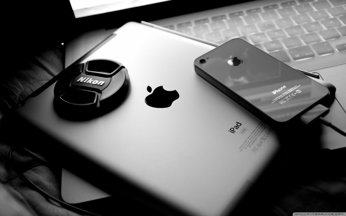 Apple Inc_ Nikon iPad monochrome iPhone 4 wallpaper