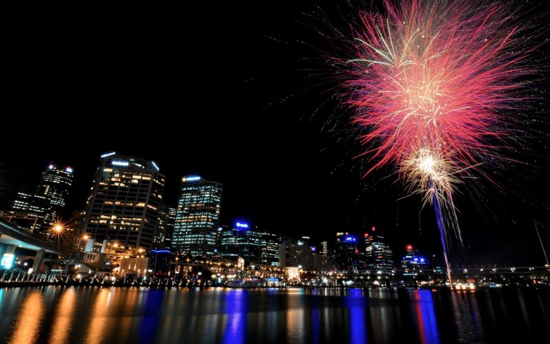 cityscapes night fireworks wallpaper