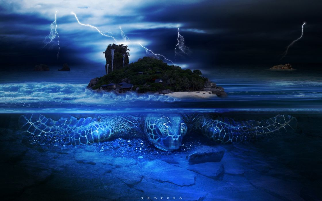 turtles fantasy art islands lightning split-view sea wallpaper