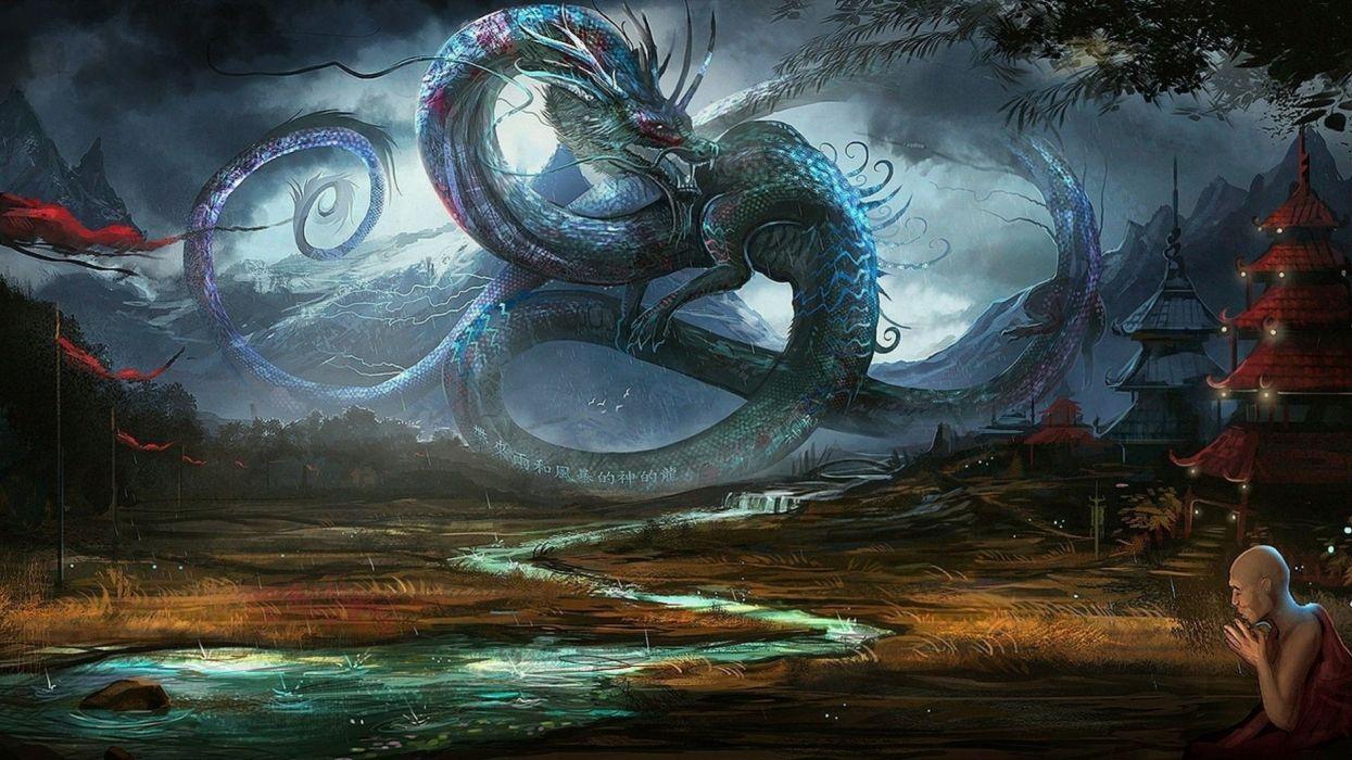 water dragons rain China legendary flags fantasy art artwork low resolution skies shaolin sea wallpaper