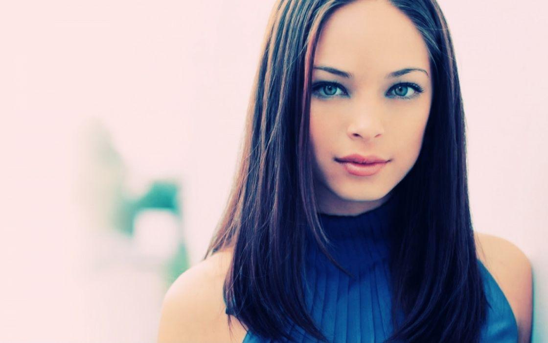 brunettes women close-up blue eyes Kristin Kreuk Lana upscaled wallpaper